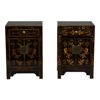 Black Beijing Accent Cabinets - a Pair For Sale