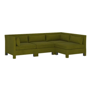 4 Piece Sectional , Velvet Applegreen For Sale
