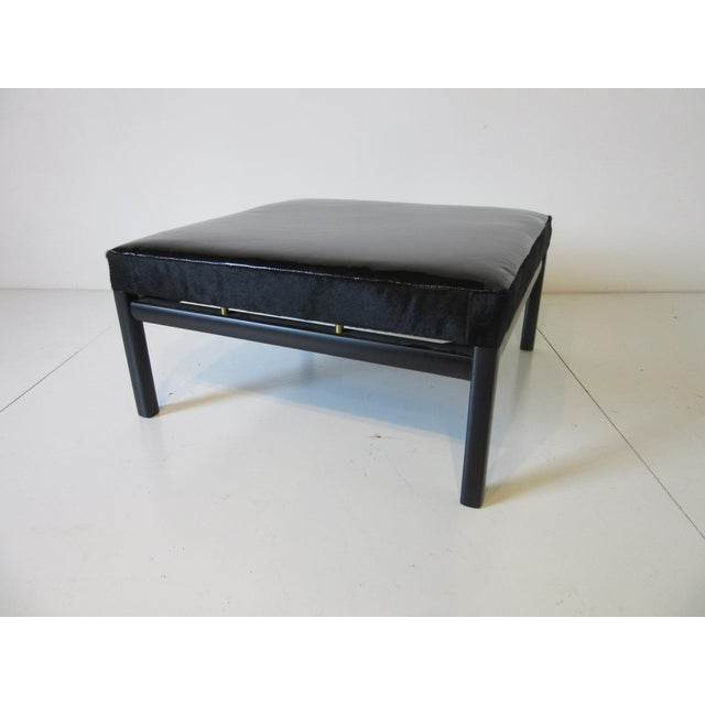 Animal Skin Mid Century Michael Taylor Baker Patent Leather and Pony Hide Ottoman For Sale - Image 7 of 11