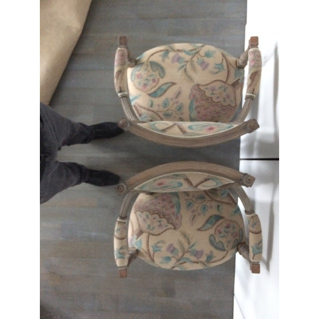 Turquoise Modern Louis XVI Style Open Arm Chairs- a Pair For Sale - Image 8 of 9