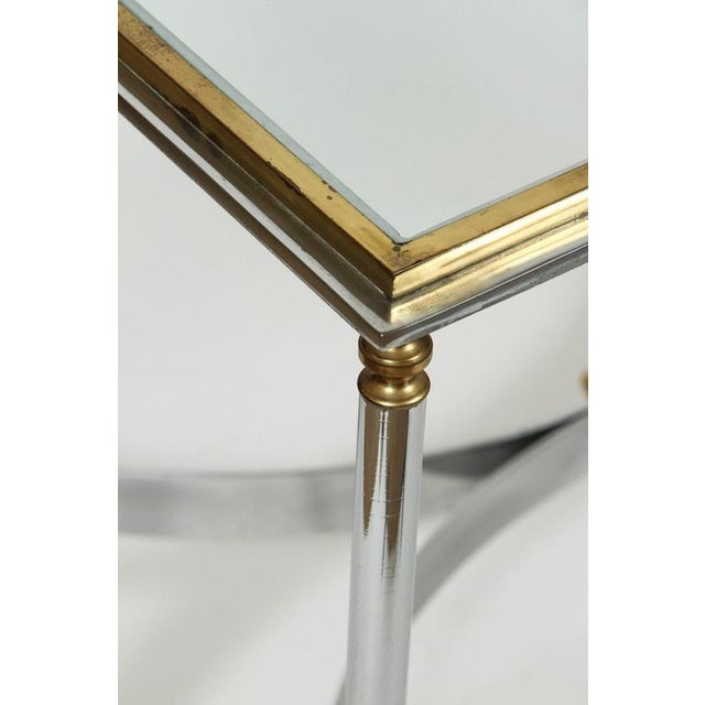 Hollywood Regency Brass & Chrome Coffee Table For Sale - Image 3 of 6