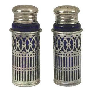 20th Century Art Deco Silverplate and Cobalt Blue Salt and Pepper Shakers - 2 Pieces For Sale