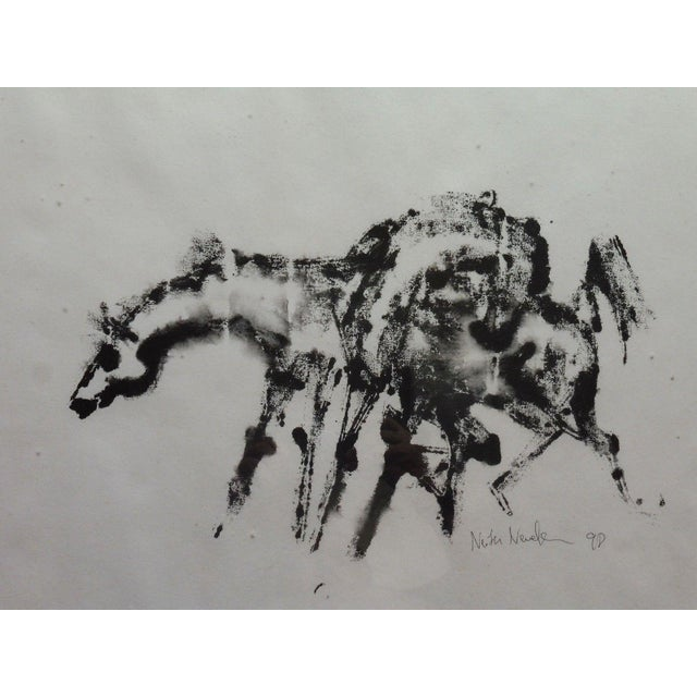 Horse painting watercolor by Neith Nevelson #1 measuring 23 inches long x 17 inches high. This is an excellent example of...