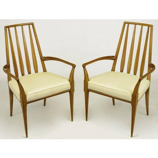 Pair of Bert England Sculpted Walnut and Off-White Linen Slatback Armchairs Preview
