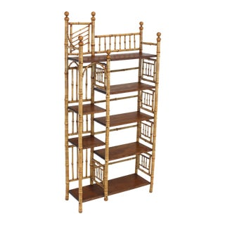 Burnt Bamboo Decorative Etagere Shelf, circa 1970s For Sale