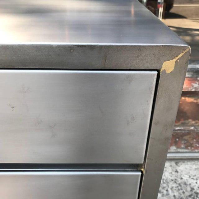 Metal Machine Age Streamlined Brushed Steel Dresser by Superior Sleeprite For Sale - Image 7 of 10