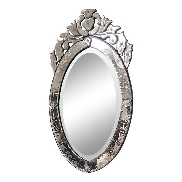 Vintage Venetian Scrolling Heart Oval Wall Mounted Mirror For Sale