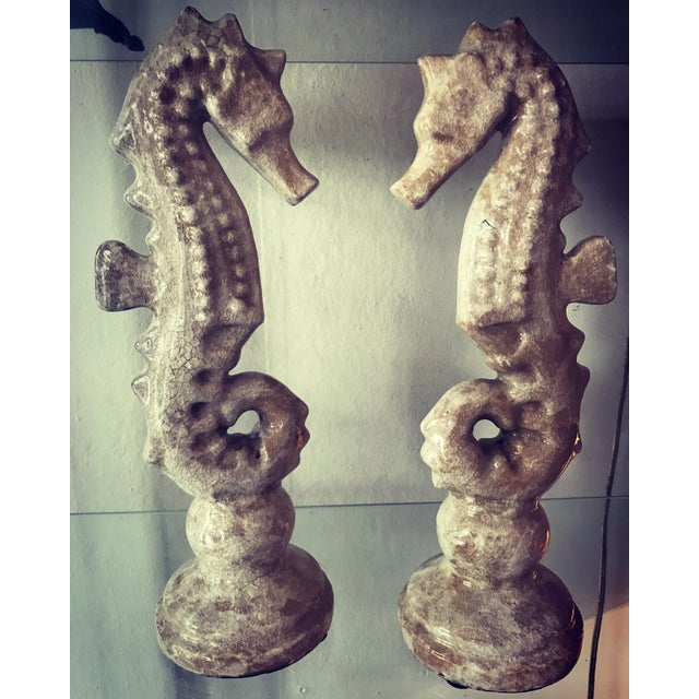 Contemporary Ceramic Seahorses - a Pair For Sale - Image 3 of 4