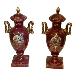 Vintage Early 20th Century French Neoclassical Hand Painted Ceramic Urns - a Pair For Sale