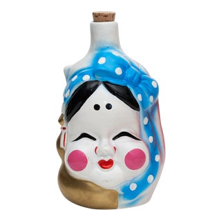 Japanese Two-Face Lacquered Ceramic Sake Bottle For Sale