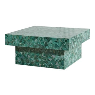 Green Marble Mosaic Coffee Table For Sale