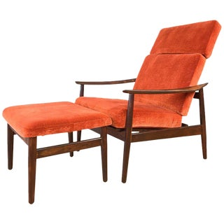 Arne Vodder for France & Son Rosewood Reclining Lounge Chair and Ottoman For Sale