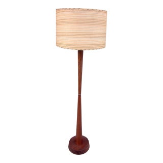Mid-Century Modern 1950s-1960s Teak Floor Lamp With Painted Stripe Fiberglass Shade For Sale