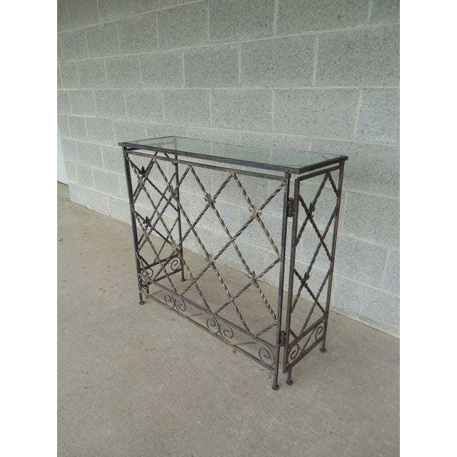 "French Designer French Style Heavy Wrought Iron Glass Top Console 35""w X 12""d For Sale - Image 3 of 13"