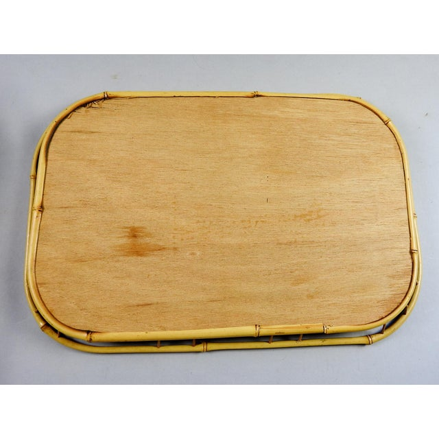 Tiki Bamboo Rattan Trays - Set of 4 For Sale - Image 4 of 4