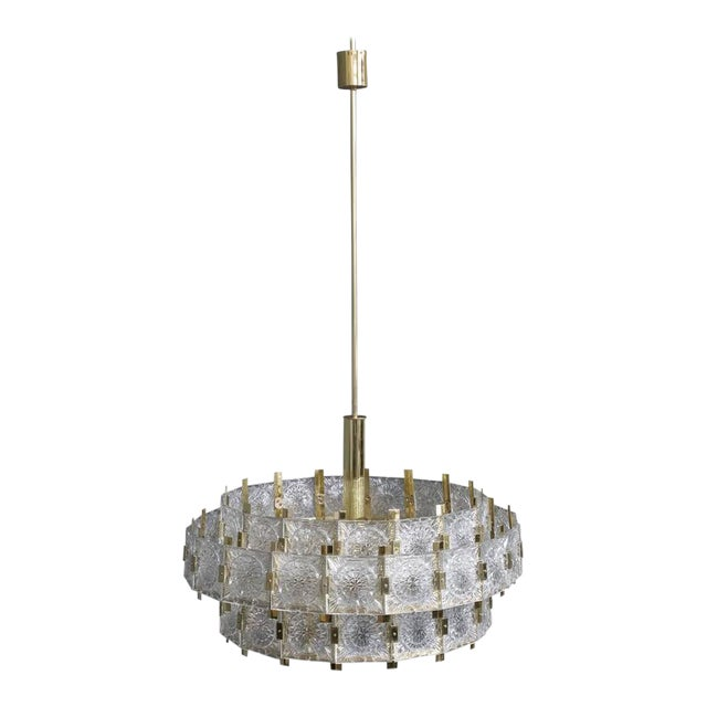 French Mid-Century Modern Brass Chandelier with Glass - Image 1 of 11