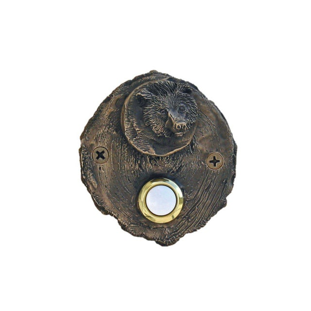 Log End Bear Doorbell, Traditional Patina For Sale - Image 4 of 5