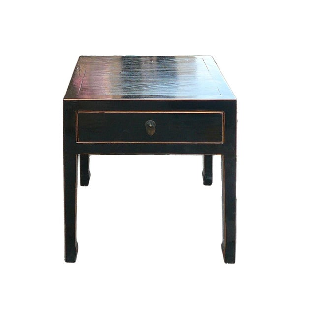 Square Black Single Drawer Side Table - Image 1 of 6