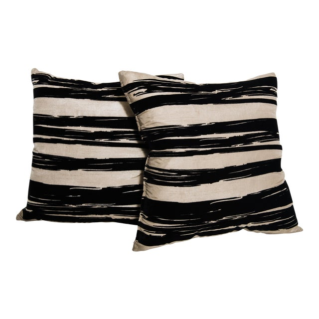 Contemporary Raw Silk Pillows-A Pair - Image 1 of 4
