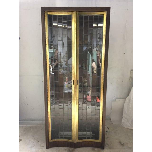 Heritage Mid-Century Modern Brass & Lead Glass Cabinet - Image 5 of 6