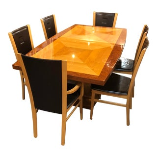 Italian Dining Set With 6 Leather Chairs Leaf Stored Inside For Sale