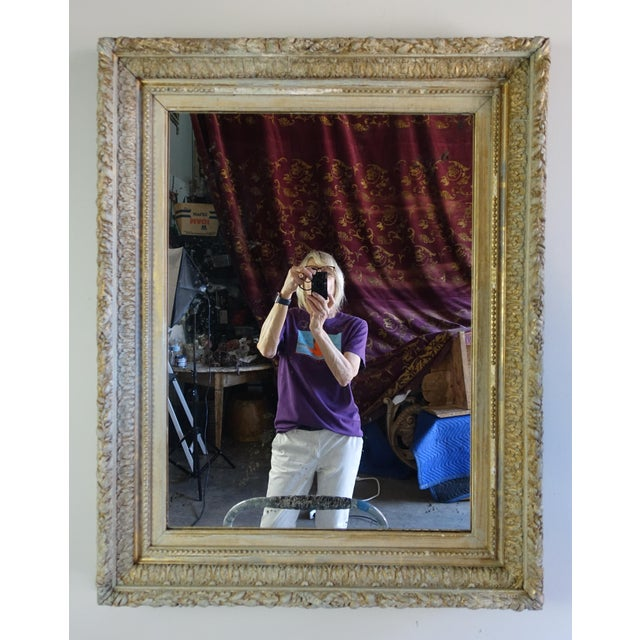 19th C. French Painted & Gilt Mirror For Sale - Image 4 of 7
