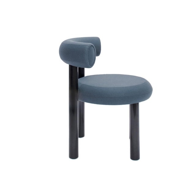 Contemporary Tom Dixon Blue Gray Upholstery With Metal Gloss Lacquer Leg Dining Chair For Sale - Image 3 of 7