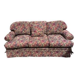 Beautiful Overstuffed Roll-Arm Sofa For Sale
