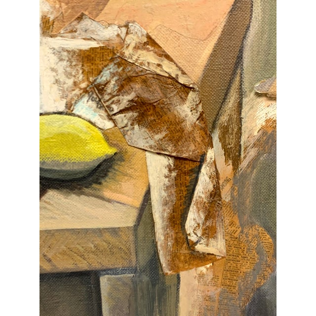 Abstract Mid Century Mixed Media Cubist Still Life Oil on Canvas For Sale - Image 3 of 10