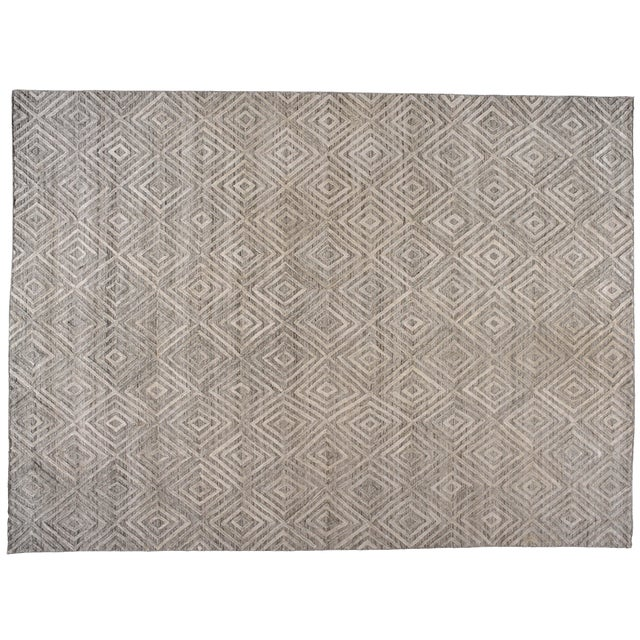 Gray Diamond Pattern Wool Rug - 9' X 12' For Sale In Los Angeles - Image 6 of 6