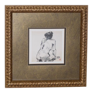 Figural Nude Watercolor Painting With Chinese Monogram For Sale