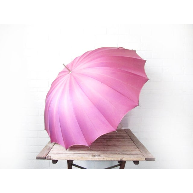 Vintage Purple 1950s Umbrella With Lucite Handle - Image 3 of 6
