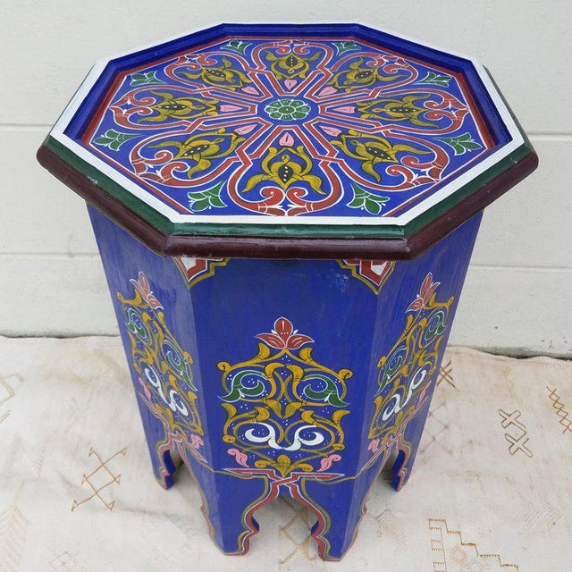 Moroccan Hexagonal Blue Wooden End Table For Sale In Orlando - Image 6 of 7