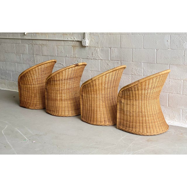 Wicker 1960s Trompe L' Oeil Wicker Rattan Dining Set – 5 Pieces For Sale - Image 7 of 11