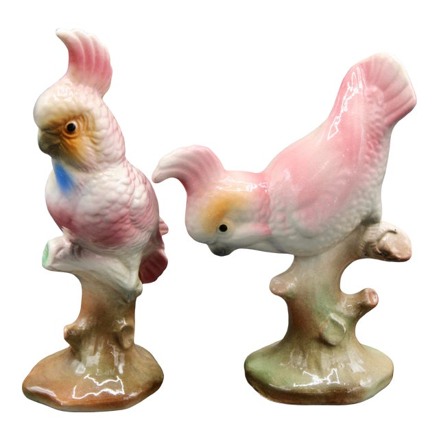Vintage Pink Majolica Cockatoo Parrot Figurines - a Pair For Sale
