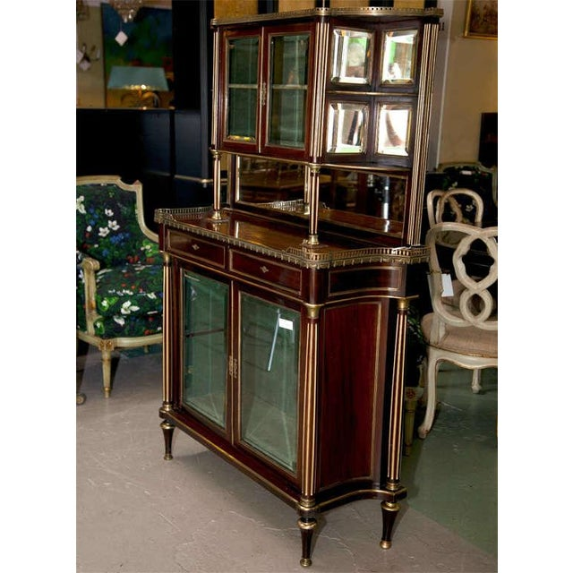 French Louis XIV Style Mahogany Server Cabinet Buffet Cupboard by Maisen Jansen - Image 3 of 8