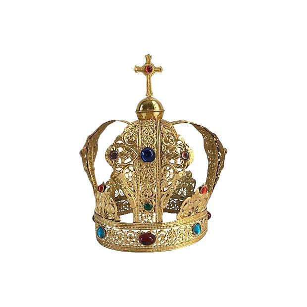 Vintage Brass Filigree Cabochon Crown For Sale