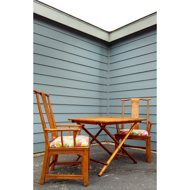 Folding Bamboo Table & Chinoiserie Chairs - Set of 3 For Sale - Image 5 of 11