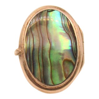 Abalone and Sterling Locket Ring For Sale