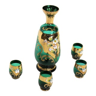 Mid-Century Italian Hand-Painted Gilt Green Glass Decanter and Cordials - Set of 5