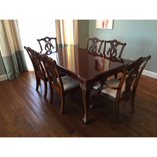 Beautiful Stanley 60th anniversary American Made real wood Dining Set. Mahogany Chippendale Style. Including 2 arm chairs,...