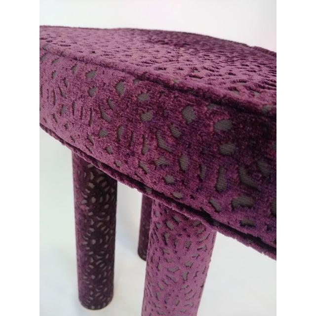 Modern Aubergine Cut Velvet Heart Shape Vanity Chair For Sale In Portland, OR - Image 6 of 7