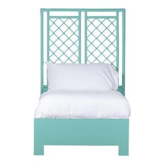 X & Diamond Bed Twin Extra Long - Turquoise For Sale