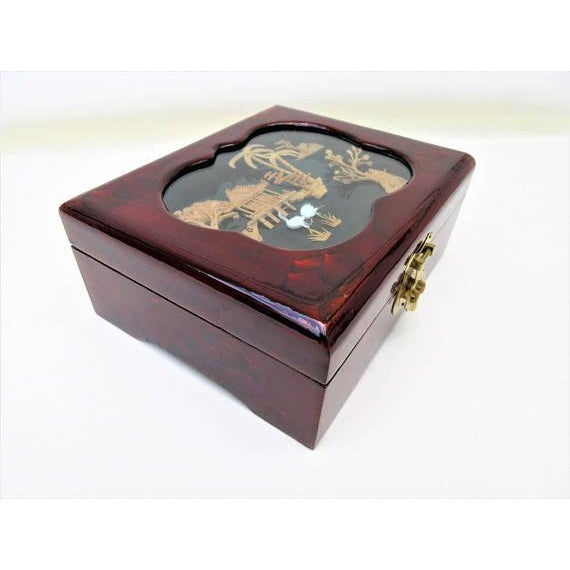Vintage Wooden Lacquer Box   Jewelry Organizer - Image 4 of 7