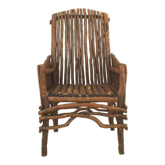 Rustic Adirondack Twig Arm Chair For Sale