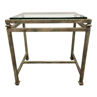 Glass Top Side Table from Brustlin For Sale