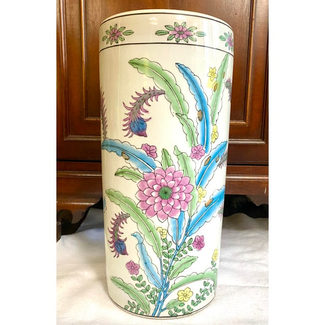 Vintage Chinese Porcelain Umbrella Stand For Sale - Image 9 of 9