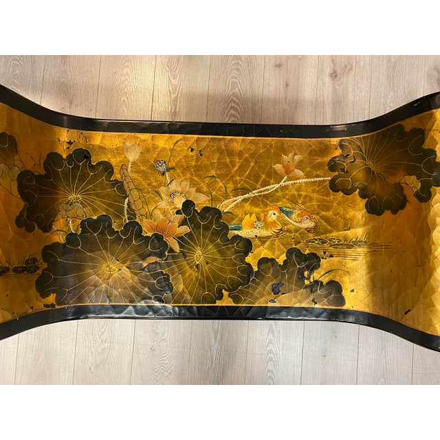 Wood Antique Hand Painted Asian Bench For Sale - Image 7 of 13