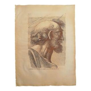 Large Antique 18th Century Sepia Etching of Saint Peter - Raphael - Elephant Folio For Sale