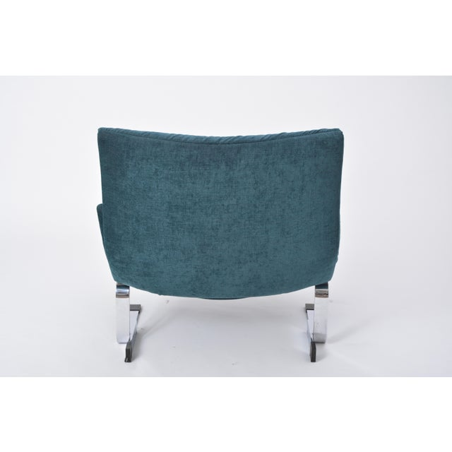 Blue Reupholstered Onda Lounge Chair by Giovanni Offredi for Saporiti, Italy, 1970s For Sale - Image 8 of 12